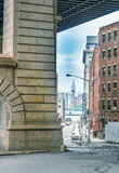 The Manhattan Bridge and New York City buildings Stock Photography