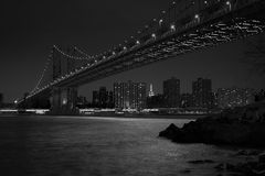 Manhattan Bridge in New York City. On an evening stock photo