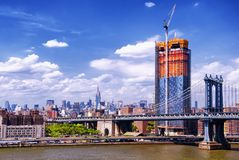 Manhattan bridge new york city skyline stock photo