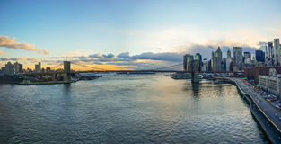 Manhattan Bridge and New York City Skyline Sunset. Manhattan Bridge and NYC Skyline during sunset with traffice Royalty Free Stock Images