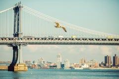 Manhattan Bridge, New York City. View from Manhattan stock images