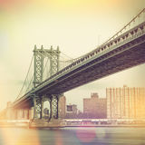 Manhattan Bridge and New York City - vintage style Stock Photography