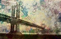 Manhattan Bridge. New York. Manhattan Bridge Painterly Landscape Royalty Free Stock Images