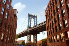Manhattan Bridge New York NY NYC from Brooklyn Royalty Free Stock Photo