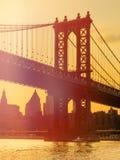 The Manhattan Bridge in New York at sunset Stock Photos