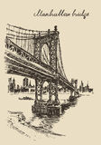 Manhattan bridge New York United States sketch Stock Image