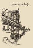 Manhattan bridge New York United States sketch. Manhattan bridge New York United States vintage engraved illustration hand drawn sketch Stock Image