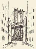 Manhattan bridge New York United States sketch. Manhattan bridge New York United States vintage engraved illustration hand drawn sketch Stock Images