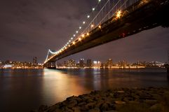 Manhattan Bridge At Night Stock Photography