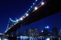 Manhattan Bridge At Night. New York City Skyline and Manhattan Bridge At Night Royalty Free Stock Image