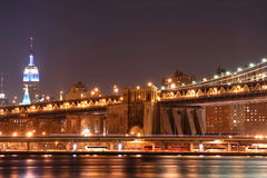 Manhattan Bridge At Night Royalty Free Stock Photo