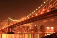 Manhattan Bridge At Night. Manhattan Bridge and Manhattan skyline At Night Royalty Free Stock Image