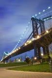 Manhattan Bridge At Night Royalty Free Stock Photography