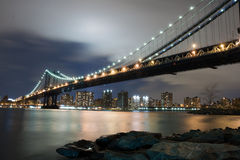 Manhattan Bridge At Night Stock Image