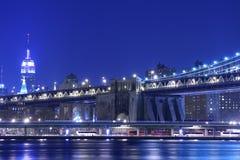 Manhattan Bridge At Night. Manhattan Bridge and Manhattan skyline At Night Stock Photos
