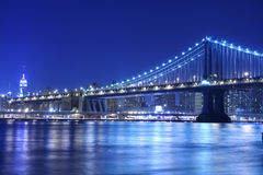 Manhattan Bridge At Night Royalty Free Stock Image