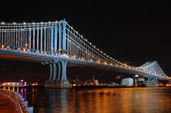 Manhattan Bridge at Night Royalty Free Stock Photography