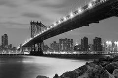 Manhattan Bridge At Night. New York City Skyline and Manhattan Bridge At Night Stock Photography