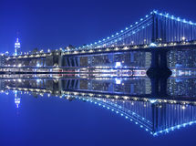 Manhattan Bridge At Night Royalty Free Stock Photos