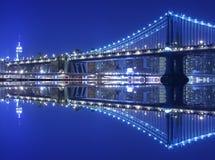 Manhattan Bridge At Night. Manhattan Bridge and Manhattan skyline At Night Royalty Free Stock Photos
