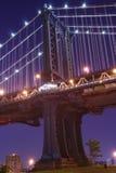 Manhattan Bridge At Night. Manhattan Bridge and Manhattan skyline At Night Stock Images