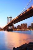 Manhattan Bridge At Night. Manhattan Bridge and Manhattan skyline At Night Royalty Free Stock Images