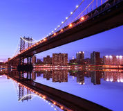 Manhattan Bridge At Night. Manhattan Bridge and Manhattan skyline At Night Royalty Free Stock Photography