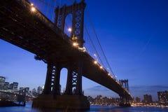 Manhattan Bridge at night. Beautiful view of Manhattan Bridge at night Royalty Free Stock Photography