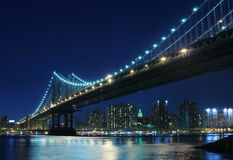Manhattan Bridge At Night Stock Images
