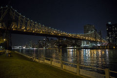 Manhattan Bridge  at night. As seen from Roosevelt Island Royalty Free Stock Image