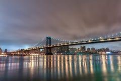 Manhattan Bridge at Night. Long Exposure. New York. NYC. Manhattan Bridge at Night. Long Exposure Stock Photos