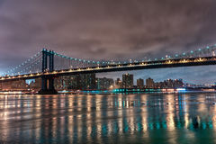 Manhattan Bridge at Night. Long Exposure. New York. NYC. Manhattan Bridge at Night. Long Exposure Royalty Free Stock Photos