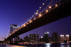 Manhattan Bridge At Night, New York City Royalty Free Stock Photos