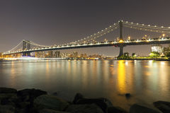 Manhattan bridge at night, New York City. Stock Photos
