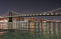 Manhattan Bridge at night - New York. USA Royalty Free Stock Photos