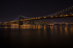 Manhattan Bridge at night, New York Stock Images