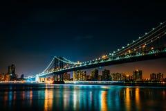 Manhattan Bridge at night, seen from Brooklyn Bridge Park, in Br Stock Image
