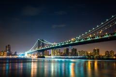 Manhattan Bridge at night, seen from Brooklyn Bridge Park, in Br Royalty Free Stock Image
