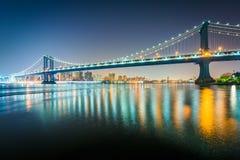The Manhattan Bridge at night, seen from Brooklyn Bridge Park, i. N Brooklyn, New York Royalty Free Stock Photography