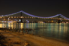 Manhattan Bridge night shot. View of manhattan bridge from close to South Street Seaport Royalty Free Stock Photos