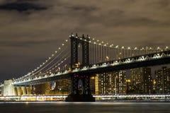 Manhattan Bridge at night. Manhattan Bridge and Manhattan skyline at night Royalty Free Stock Photo