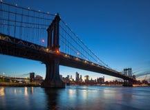 Manhattan Bridge At Night Stock Photography