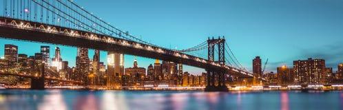 Manhattan Bridge At Night Royalty Free Stock Photos