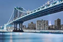 Manhattan bridge night view Royalty Free Stock Photography