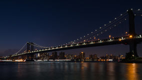 Manhattan bridge noc Obraz Stock