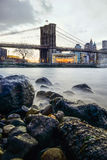Manhattan Bridge and NYC Skyline at night Royalty Free Stock Photo