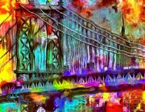 Manhattan Bridge. Oil painting. Manhattan Bridge. This image created in entirety by me and is entirely owned by me and is entirely legal for me to sell and Royalty Free Stock Photo