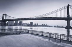 Manhattan Bridge Over East River in New York City Stock Images