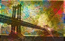 Manhattan Bridge Painterly. Landscape. 3D rendering Royalty Free Stock Image