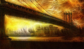 Manhattan Bridge Painterly. Warm Hued Landscape Royalty Free Stock Photo